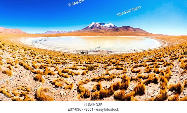 Panoramic view of Laguna Canapa, it is a salt lake in the altiplano of Bolivia