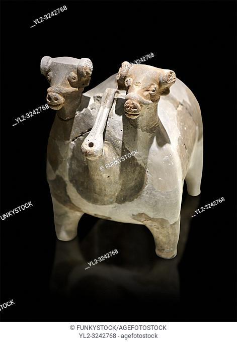 Bronze Age Anatolian terra cotta vtwo headed bull shaped ritual vessel - 19th to 17th century BC - Kültepe Kanesh - Museum of Anatolian Civilisations, Ankara