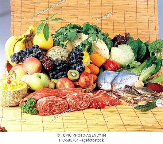 Fruits,Vegetables,Fishes And Meat