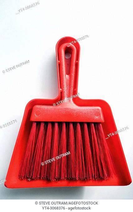 Red Plastic Dustpan and Brush