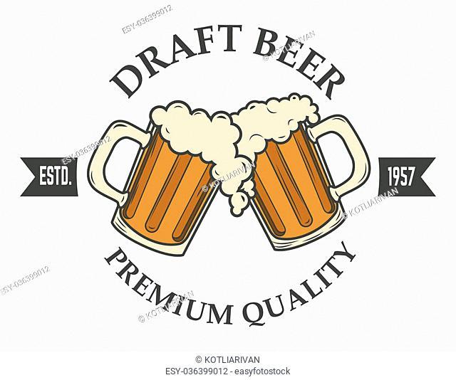draft beer vector illustration. Logo,badge or label design template. Pab or bar logo