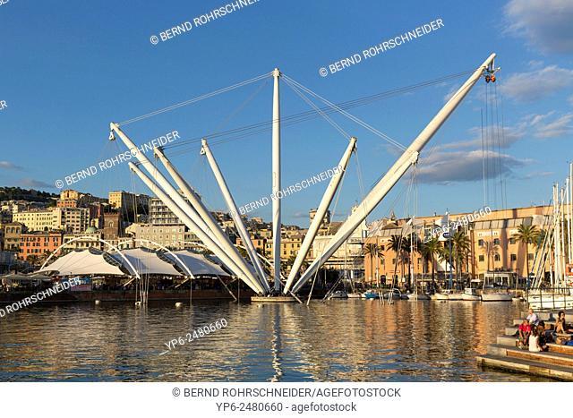 Porto Antico with Bigo, Genoa, Liguria, Italy