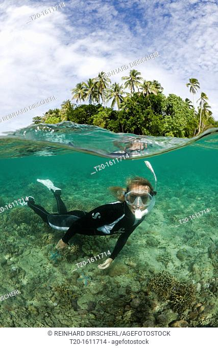 Snorkeling in Lagoon of Ahe Island, Cenderawasih Bay, West Papua, Indonesia