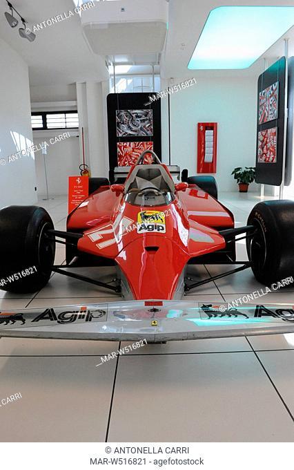 ferrari 126 CK che corse la stagione di formula 1 1981, progettata da mauro forghieri e portata in gara da gilles villeneuve, galleria ferrari, maranello