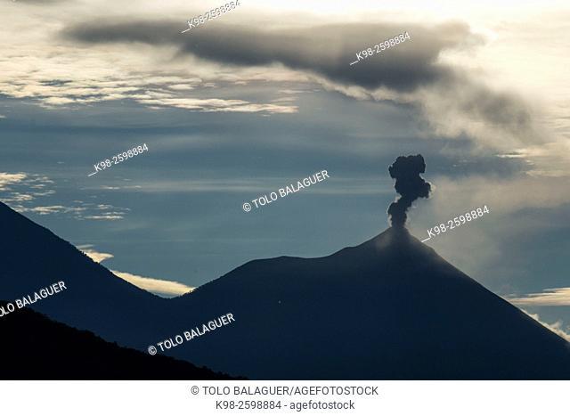Guatemala, fumarole over Acatenango volcano