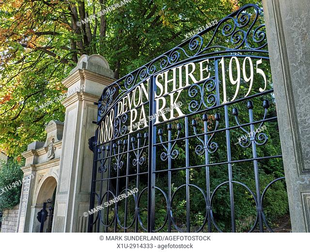 Entrance Gate to Devonshire Park at Keighley West Yorkshire England