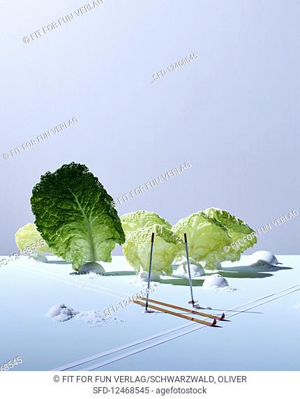 Savoy cabbage leaves with artificial snow and mini skis
