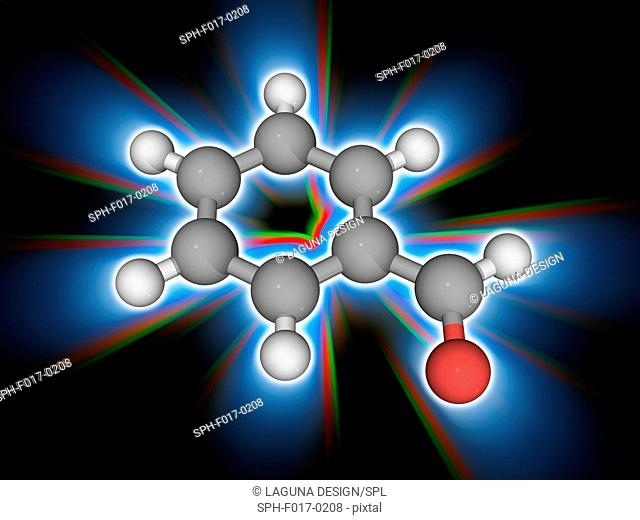 Benzaldehyde. Molecular model of the aromatic aldehyde known as benzaldehyde (C7.H6.O). It has an almond-like aroma and is widely used as a precursor to other...