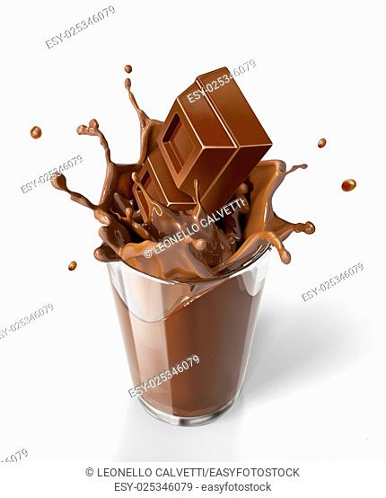 Chocolate cubes splashing into a chocolate milkshake glass. Bird eye view, on white background. Clipping path included