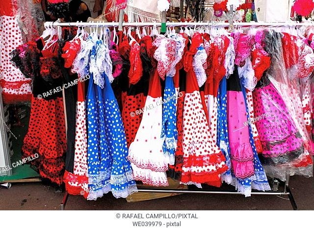 Flamenco dresses. Feria de Abril Barcelona 2006. Cataluña. Spain