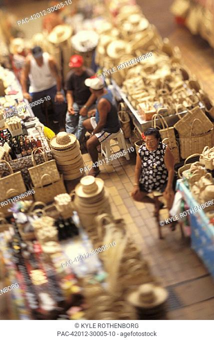 French Polynesia, Vendors sitting in marketplace, view from above