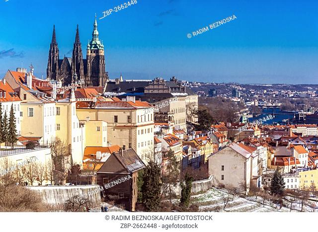 Winter view of the Prague Castle from the Strahov Monastery in Prague, Czech Republic