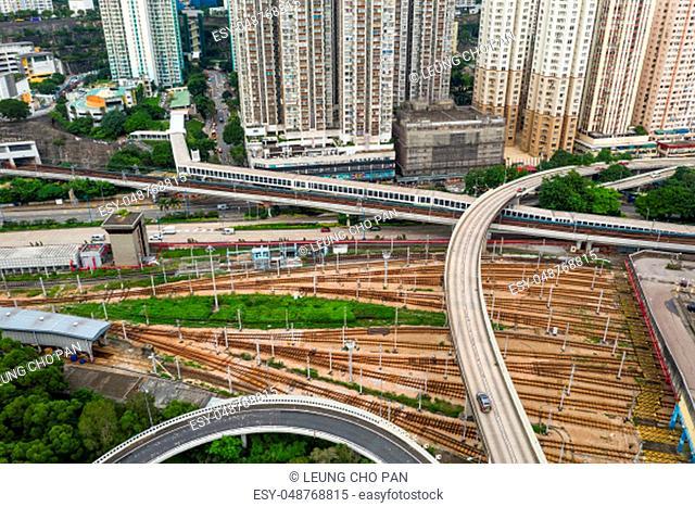 Kowloon Bay, Hong Kong 03 September 2018:-Top view of Hong Kong railway