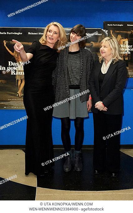 Celebrities at the premiere of the movie Das Wetter in geschlossenen Raeumen Featuring: Maria Furtwängler, Maelle Giovanetti, Barbara Buhl Where: Düsseldorf