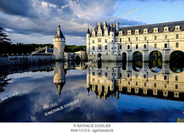 Castle of Chenonceau, dated 1513 to 1521, Renaissance style, over the Cher River, Indre et Loire, Loire Valley, UNESCO World Heritage Site, Centre, France