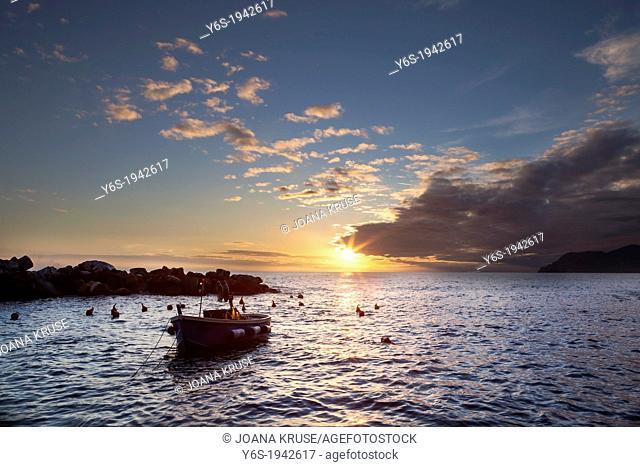 sunset in Riomaggiore, Cinque Terre, Liguria, Italy