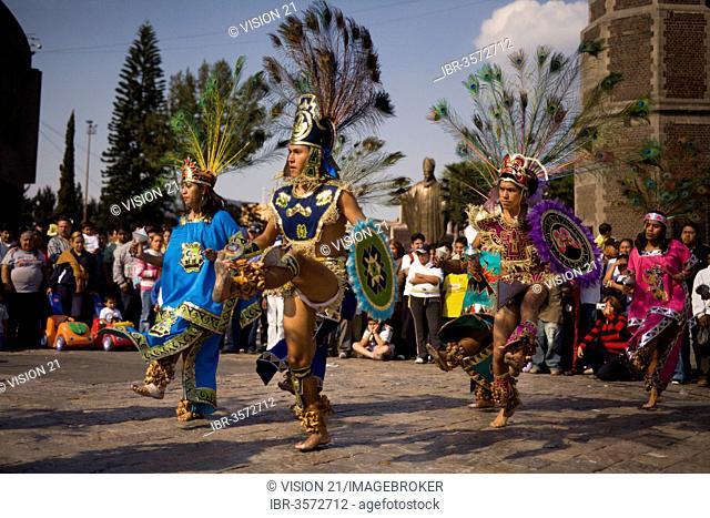 Conchero dancers at the Festival of Señora de Guadalupe, Mexico City, Federal District, Mexico