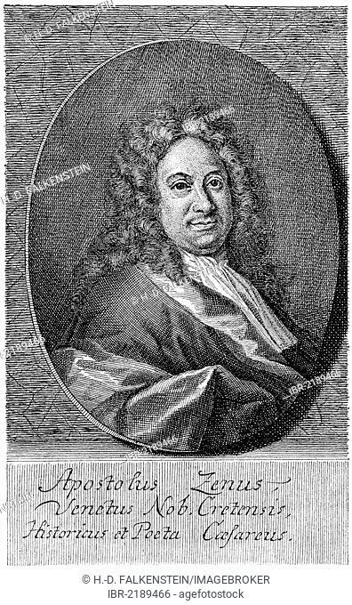 Historical print from the 19th century, portrait of Apostolo Zeno, 1668 - 1750, an Italian scholar, poet and librettist