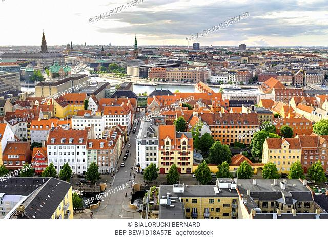 Dania - region Zealand - Kopenhaga - panorama centrum miasta z lotu ptaka Denmark - Zealand region - Copenhagen city center - panoramic aerial view of the...