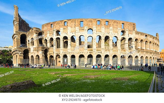 Rome, Italy. Exterior of the Colosseum. The Colosseum is part of the Historic Centre of Rome which is a UNESCO World Heritage Site