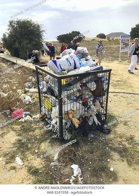 Waste on Golden Beach. North Cyprus, Karpass Peninsula