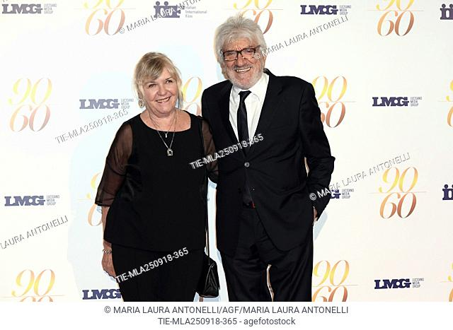 Gigi Proietti with wife Sagitta Alter during red carpet of 60/90 party, for 60 years of career and ninetieth birthday of Fulvio Lucisano, Italian Film Producer