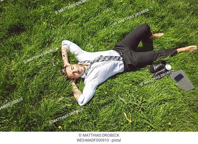 Smiling businessman lying in meadow