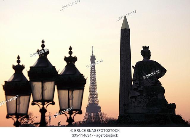 Sunset at Place de la Concorde with Eiffel Tower in the background, Paris, Île-de-France, France