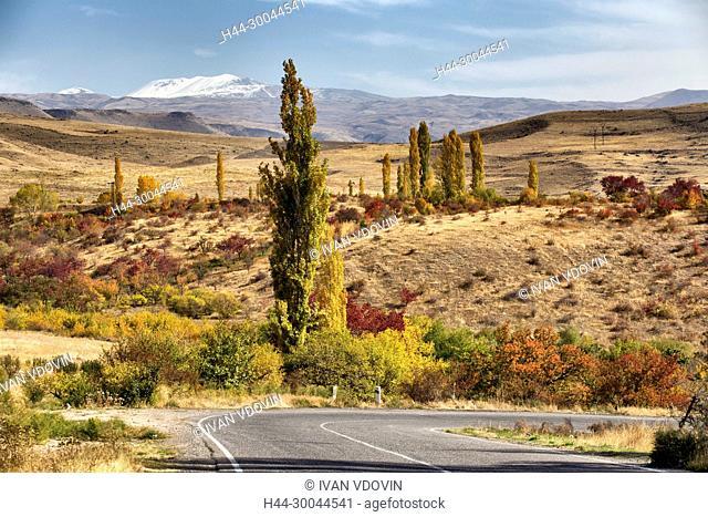 Mountain valley landscape, road from Yerevan to Garni, Kotayk province, Armenia