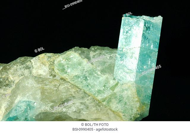 <BR>Worldwide distribution except for United Kingdom and Germany.<BR>Aquamarine (silicate class of minerals) is a variety of beryl (aluminum beryllium silicate)