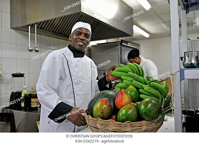 Alain Coline, chef of the restaurant Suggestions at the public library of Baie-Mahault, Basse-Terre, Guadeloupe, overseas region of France, Leewards Islands