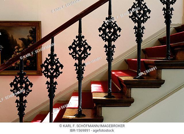 Staircase with decorative cast iron railings from the 19th century, Koekkoek-Haus museum, Kleve, Niederrhein region, North Rhine-Westphalia, Germany, Europe