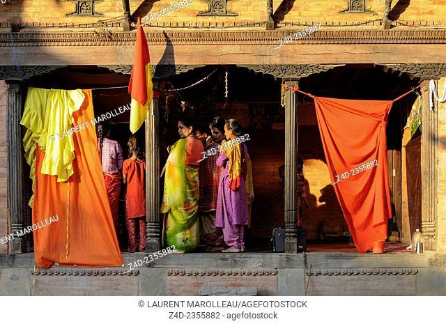 Women Pray at Pashupatinath. Kathmandu, Bagmati Zone, Nepal