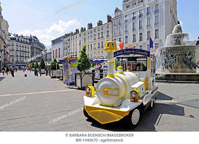 Tourist train, Place Grenette square, Grenoble, Rhone-Alpes, France, Europe