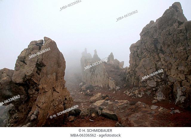 La Palma island, Roque de Los Muchachos in the fog, the Canaries, Spain, Europe