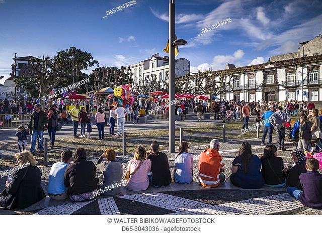 Portugal, Azores, Sao Miguel Island, Ponta Delgada, Festa Santo Christo dos Milagres festival, people, daytime