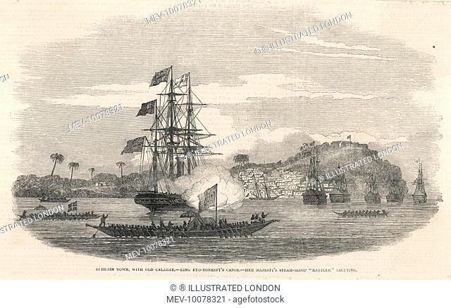At Ephraim Town (old Calabar) the British steam-sloop 'Rattler' salutes the canoe of King Eyo-Honesty