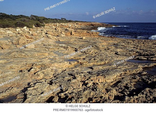 Rocky coastline, Cap de ses Salines, Majorca, Spain