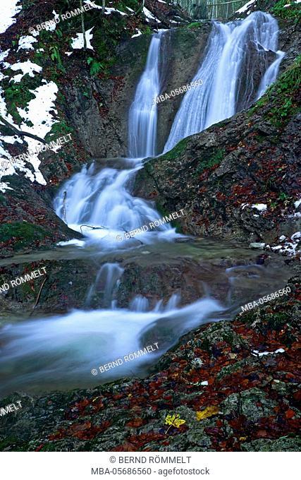 Germany, Bavaria, Upper Bavaria, Tölzer country, Bavarian Alpine foothills, Seekarkreuz, waterfall in the Grasleitsteig