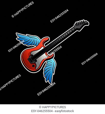 Red electric guitar with blue wings. Rock n roll or music theme. Tattoo artwork. Musical instrument. Graphic design for promo poster, sticker or card