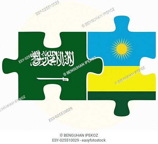 Saudi Arabia and Rwanda Flags in puzzle isolated on white background