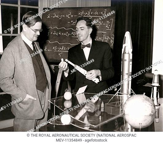 John Allen, right, of the Avro Weapons Research Division, discussed the extreme launch accuracies needed for lunar probes at a lecture to the Graduates and...