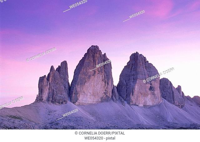 Tre Cime di Lavaredo (2999 m.), Sexten Dolomites. Italy