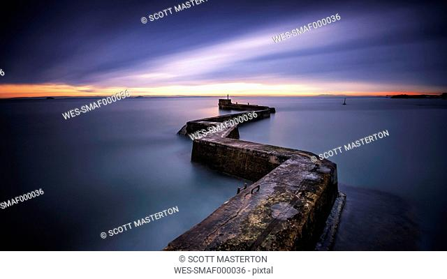 United Kingdom, Scotland, View of sea with pier
