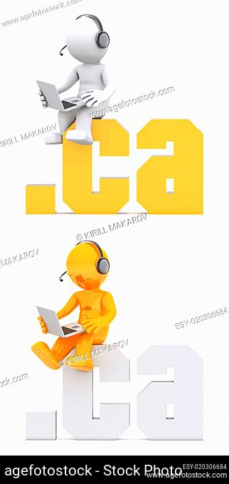 3d character sitting on .ca domain sign
