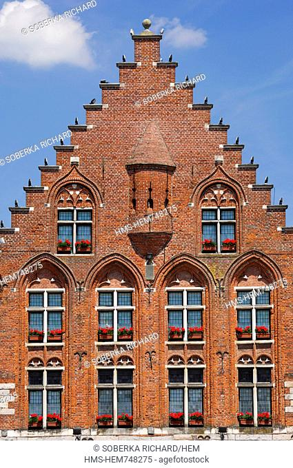 France, Pas de Calais, Arras, Grand Place, red brick facade of the Hotel Les Trois Luppars the oldest house in Arras built in 1467