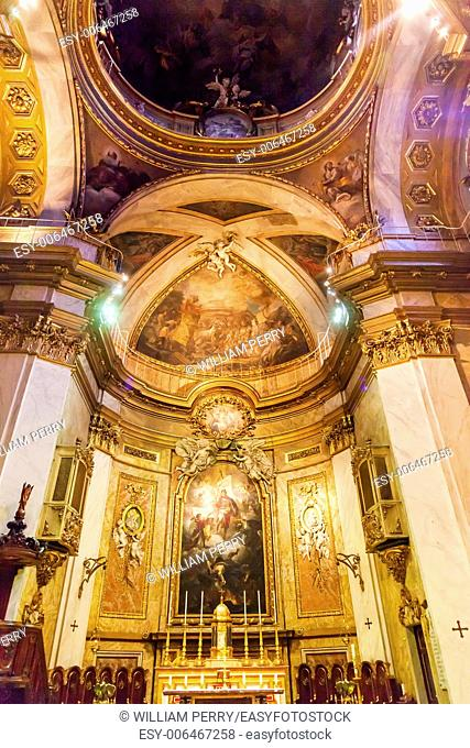 Basilica Dome Saint Michael's Basilica Pontifica de San Miguel Madrid Spain. Pontifical Basilica of St. Michael is a Baroque Catholic Church established in 1745