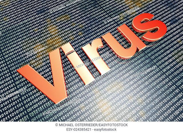 Computer virus in digital code. 3D illustration
