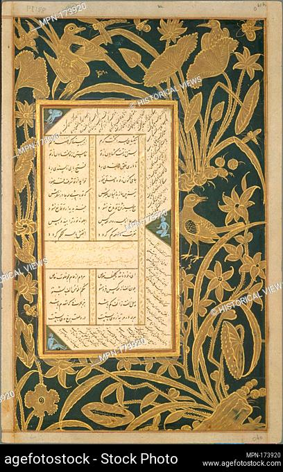 Page of Calligraphy with Stenciled and Painted Borders from a Subhat al-Abrar (Rosary of the Devout) of Jami. Author: Maulana Nur al-Din `Abd al-Rahman Jami...