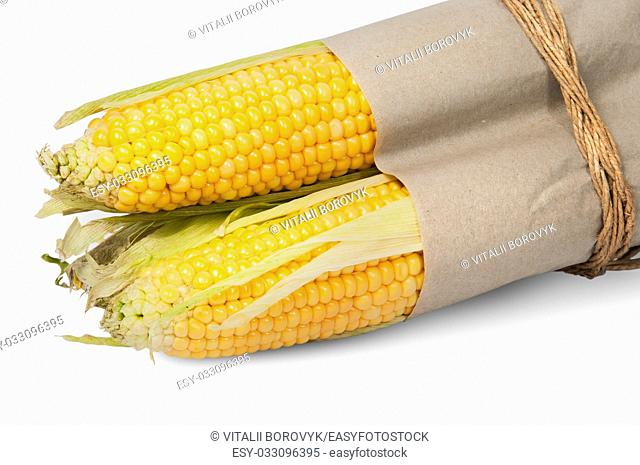 Several corn cob in paper bag tied with rope isolated on white background